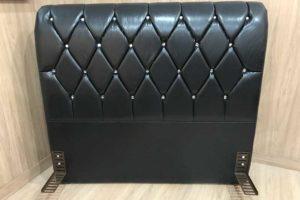 Cabeceira 1.98 m - King Size - Modelo Lavínia - Corino Preto
