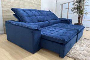 Sofá Retrátil Azul 2.10 m de Largura - Modelo Munique - Promoção -