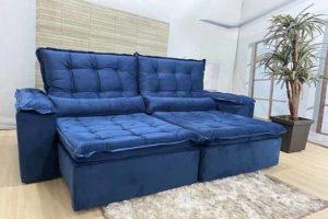 Sofá Retrátil Azul 2.30 m de Largura - Modelo Florença
