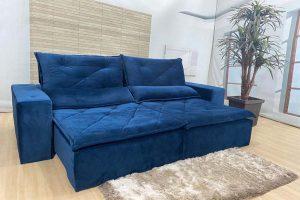 Sofá Retrátil Azul 2.30 m de Largura- Modelo Omega