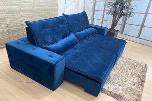 Sofá Retrátil Azul 2.30 m de Largura- Modelo Omega- Oferta