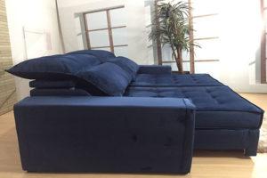 Sofá Retrátil Azul 2.90 m de Largura Modelo Coliseu