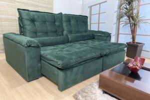 Sofá Retrátil Verde 2.30 m de Largura - Modelo Florença