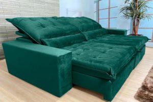 Sofá Retrátil Verde 2.50 m de Largura - Modelo Cairo