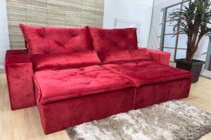 Sofá Retrátil Vermelho 2.10 m de Largura - Modelo Esplendor