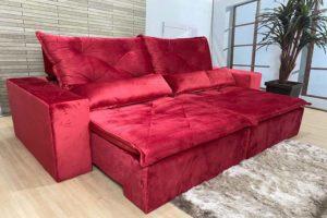 Sofá Retrátil Vermelho 2.10 m de Largura - Modelo Esplendor - Bom Preço