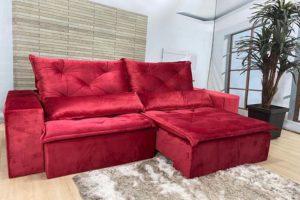 Sofá Retrátil Vermelho 2.10 m de Largura - Modelo Esplendor- Bom Preço