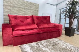 Sofá Retrátil Vermelho 2.10 m de Largura - Modelo Esplendor.