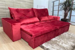 Sofá Retrátil Vermelho 2.30 m de Largura - Modelo Omega - Bom Preço
