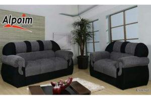 Sofá de 2 e 3 lugares Preto com cinza 1,47 cm de Largura Modelo Corsa