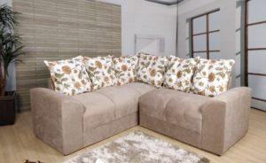 Sofá de Canto Bege com floral 1,80 cm de Largura- Modelo Canto Belo