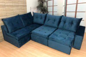 Sofá de Canto Retrátil Azul - Modelo Geribá