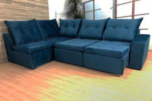 Sofá de Canto Retrátl Azul - Modelo Geribá (3)