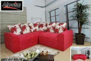 Sofá de Canto Vermelho com floral 1,80 cm de Largura- Modelo Canto Belo