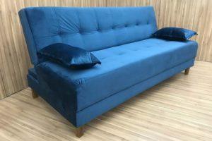 Sofá Cama 185 cm de Largura Azul - Modelo Stella