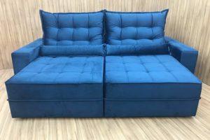 Sofá Retrátil 1.80 m - Modelo Baruqui - Azul 325