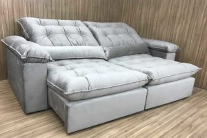 Sofá Retrátil 2.10 m - Modelo Campinas - Bege 319