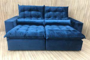 Sofá Retrátil 2.10 m - Modelo Laura - Azul 325