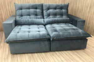 Sofá Retrátil 2.10 m - Modelo Laura - Cinza Escuro 330