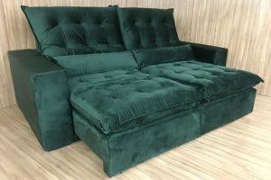 Sofá Retrátil 2.10 m - Modelo Laura - Verde 324