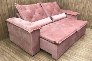Sofá Retrátil 2.30 m - Modelo Bettoni - Rosa Claro 508