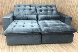 Sofá Retrátil 2.30 m - Modelo Laura - Cinza Escuro 330