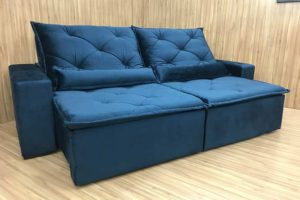 Sofá Retrátil 2.30 m - Modelo Ômega - Azul 506