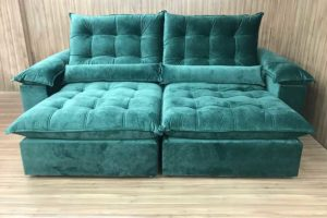 Sofá Retrátil 2.50 m - Modelo Campinas - Verde 324