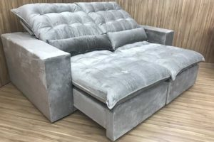 Sofá Retrátil 2.50 m - Modelo Laura - Bege 319