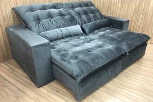 Sofá Retrátil 2.50 m - Modelo Laura - Cinza Escuro 330