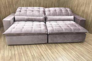 Sofá Retrátil 2.90 m - Modelo Laura - Rose Claro 326