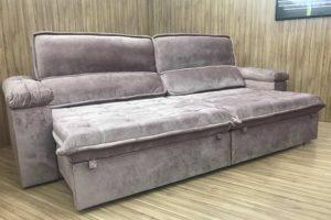 Sofá Retrátil 2.90 m - Modelo Vergas - Rose Claro 326