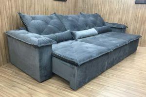 Sofá Retrátil 3.20 m - Modelo Lucchese - Cinza 502