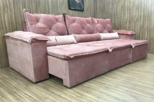 Sofá Retrátil 3.20 m - Modelo Lucchese - Rosa Claro 508