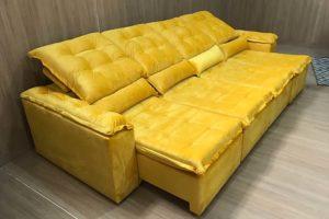 Sofá Retrátil Amarelo 3.30 m de Largura - Modelo Florença