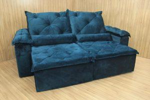 Sofá Retrátil Azul 2.10 m de Largura - Modelo Zuqui