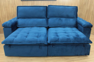 Sofá Retrátil Azul 2.30 m de Largura - Modelo Cancun