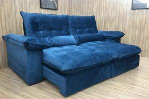 Sofá Retrátil Azul 2.50 m de Largura - Modelo Atlanta