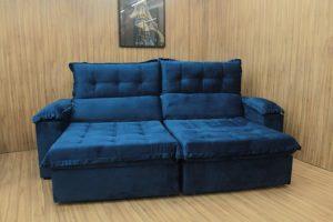 Sofá Retrátil Azul 2.50 m de Largura - Modelo Toronto