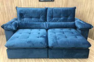 Sofá Retrátil Azul 2.90 m de Largura - Modelo Georgia