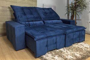 Sofá Retrátil Azul 210m de Largura - Modelo Hungria
