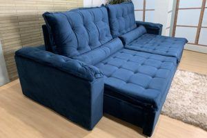 Sofá Retrátil Azul 2,50 m de Largura - Modelo Rafaele