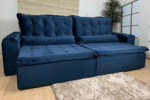 Sofá Retrátil Azul 2,90 m de Largura - Modelo Fernanda