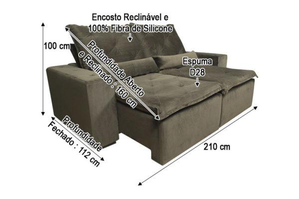 Sofá Retrátil Marrom 2.10 m de Largura - Modelo Esplendor