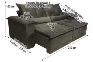 Sofá Retrátil Marrom 2.10 m de Largura - Modelo Zuqui