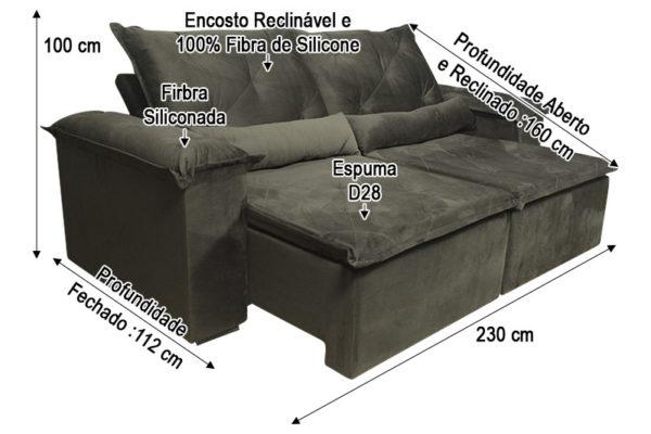 Sofá Retrátil Marrom 2.30 m de Largura - Modelo Bettoni