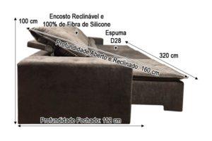 Sofá Retrátil Marrom 3.20 m de Largura - Modelo Eros