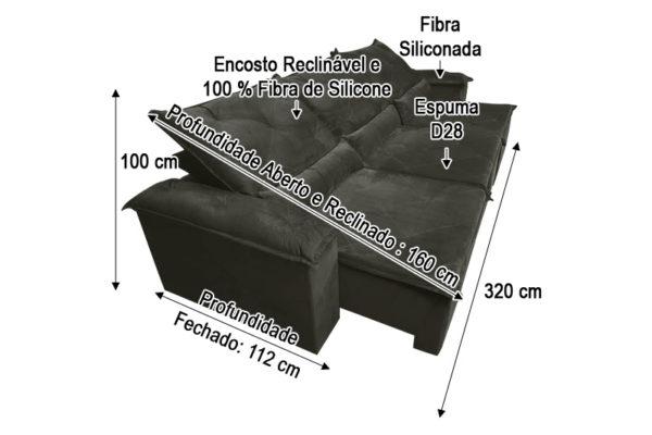 Sofá Retrátil Marrom 3.20 m de Largura - Modelo Lucchese