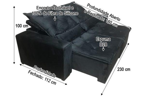 Sofá Retrátil Preto 2.30 m de Largura - Modelo Ômega