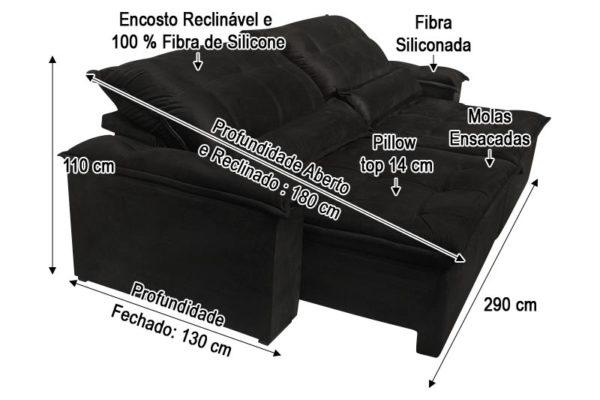 Sofá Retrátil Preto 2.90 m de Largura - Modelo Bahia
